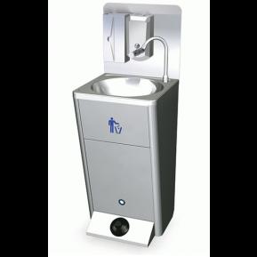 Lave-mains mobile avec commande au pied, seau à papier et distributeur de savon et de papier