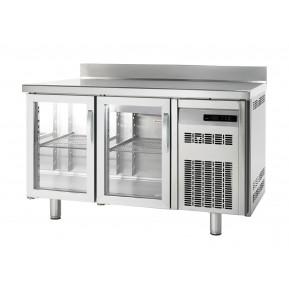 Tiefkühltisch Premium 2/0 mit Glastüren und Aufkantung   Kühltechnik/Kühltische/Tiefkühltische