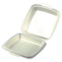 Boîtes repas Papstar avec couvercle rabattable, en polystyrène expansé, 1compartiment, 75x225x22mm, beige stratifié – 50pièces