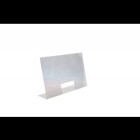 Écran de protection anti-postillons en acrylique 75 x 18cm, H: 48cm, ouverture: 25 x 12cm