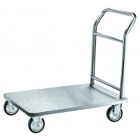 Chariot à bagages en inox, plateforme, 900 x 600 mm