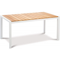 Table Paros 210 x 90 cm blanc/teck