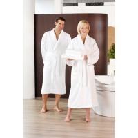 Peignoir de bain col châle, 2poches latérales, 100% coton, blanc, taille L