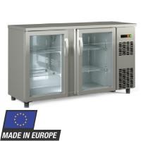 Barkühltisch PROFI 2/0 - mit Glastüren - Edelstahl Innenmaße