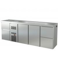 Biertheke Profi 2/2 mit zwei Spülbecken links | Kühltechnik/Biertheken