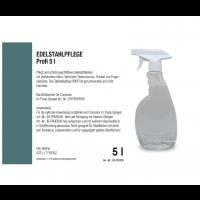 Produit d'entretien inox Profi, bidon de 5 l avec robinet et flacon vide 500 ml