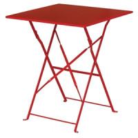 Table en acier Bolero, carrée, rouge, pliante