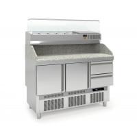 Pizzatisch PROFI Mini 2/2 mit Kühlaufsatz | Kühltechnik/Kühltische/Pizza-Kühltische