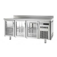 Tiefkühltisch Premium 3/0 mit Glastüren und Aufkantung | Kühltechnik/Kühltische/Tiefkühltische