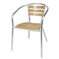 4chaises à accoudoirs en aluminium et bois de frêne Bolero, empilables