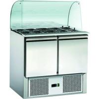 Saladette ECO 900 mit 9 Türen und Glasaufsatz
