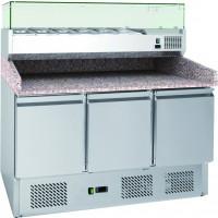 Pizzatisch ECO Mini 3/0 mit Kühlaufsatz ECO 6x GN 1/4 | Kühltechnik/Kühltische/Pizza-Kühltische